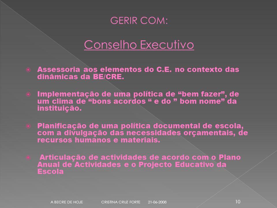 GERIR COM: Conselho Executivo Assessoria aos elementos do C.E.