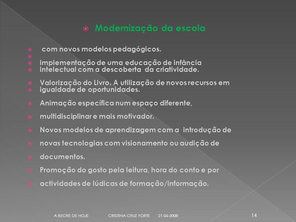 Modernização da escola com novos modelos pedagógicos.