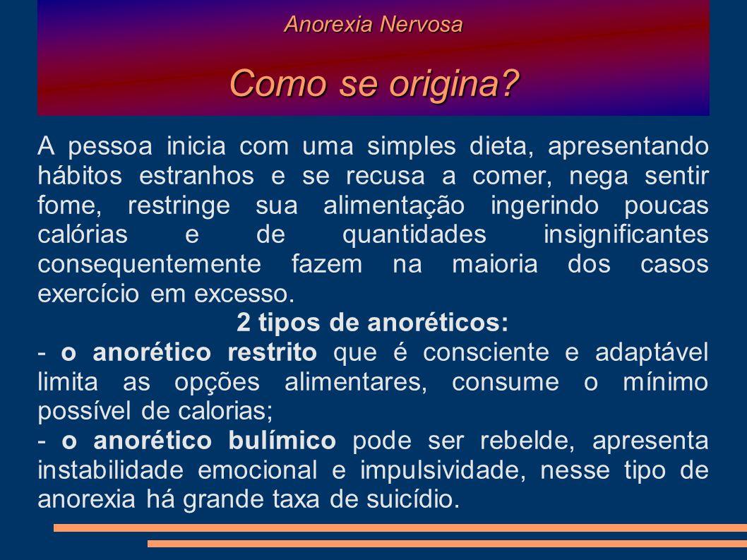 Anorexia Nervosa Como se origina? A pessoa inicia com uma simples dieta, apresentando hábitos estranhos e se recusa a comer, nega sentir fome, restrin