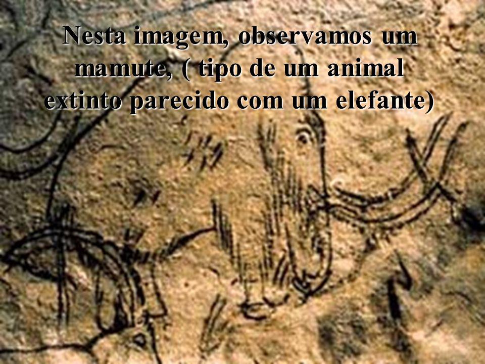 Nesta imagem, observamos um mamute, ( tipo de um animal extinto parecido com um elefante)