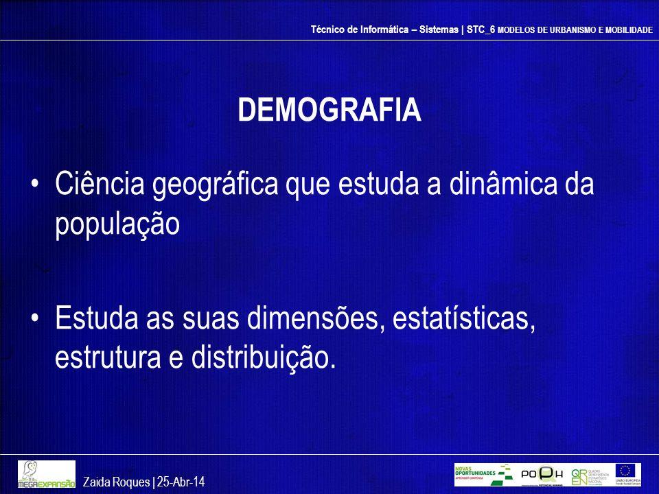 Técnico de Informática – Sistemas | STC_6 MODELOS DE URBANISMO E MOBILIDADE DEMOGRAFIA Ciência geográfica que estuda a dinâmica da população Estuda as