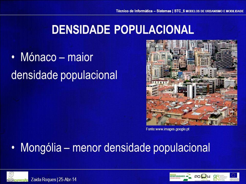 Técnico de Informática – Sistemas | STC_6 MODELOS DE URBANISMO E MOBILIDADE DENSIDADE POPULACIONAL Mónaco – maior densidade populacional Mongólia – me