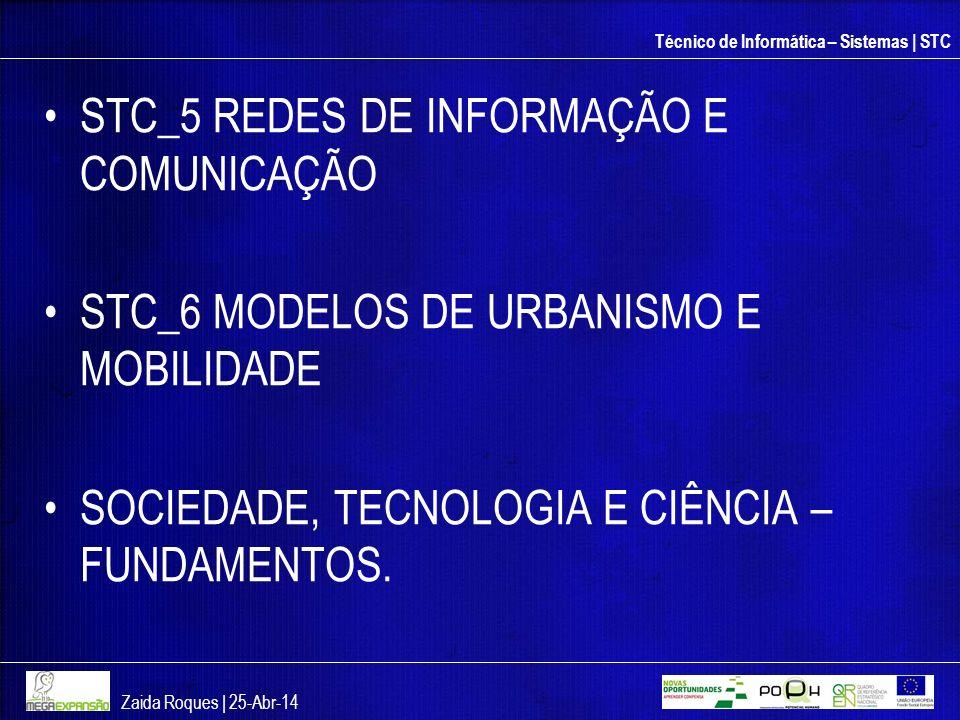 Técnico de Informática – Sistemas | STC STC_5 REDES DE INFORMAÇÃO E COMUNICAÇÃO STC_6 MODELOS DE URBANISMO E MOBILIDADE SOCIEDADE, TECNOLOGIA E CIÊNCI