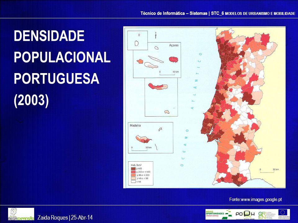 Técnico de Informática – Sistemas | STC_6 MODELOS DE URBANISMO E MOBILIDADE DENSIDADE POPULACIONAL PORTUGUESA (2003) Zaida Roques | 25-Abr-14 Fonte:ww