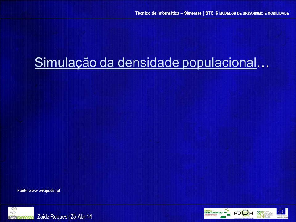 Técnico de Informática – Sistemas | STC_6 MODELOS DE URBANISMO E MOBILIDADE Zaida Roques | 25-Abr-14 Fonte:www.wikipédia.pt Simulação da densidade pop