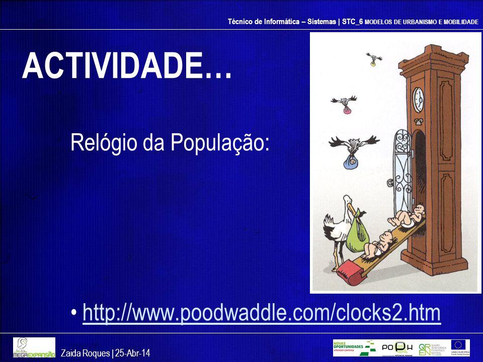 Técnico de Informática – Sistemas | STC_6 MODELOS DE URBANISMO E MOBILIDADE ACTIVIDADE… Relógio da População: http://www.poodwaddle.com/clocks2.htm Za