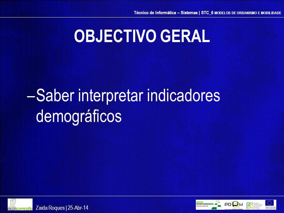 Técnico de Informática – Sistemas | STC_6 MODELOS DE URBANISMO E MOBILIDADE OBJECTIVO GERAL –Saber interpretar indicadores demográficos Zaida Roques |