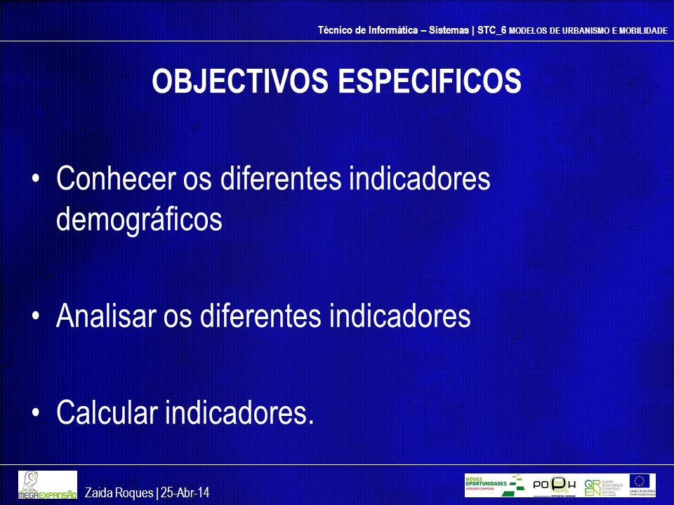 Técnico de Informática – Sistemas | STC_6 MODELOS DE URBANISMO E MOBILIDADE OBJECTIVOS ESPECIFICOS Conhecer os diferentes indicadores demográficos Ana