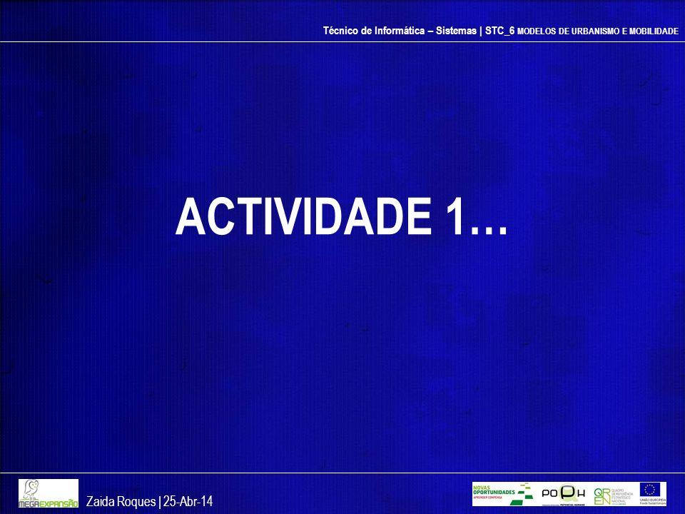 Técnico de Informática – Sistemas | STC_6 MODELOS DE URBANISMO E MOBILIDADE ACTIVIDADE 1… Zaida Roques | 25-Abr-14