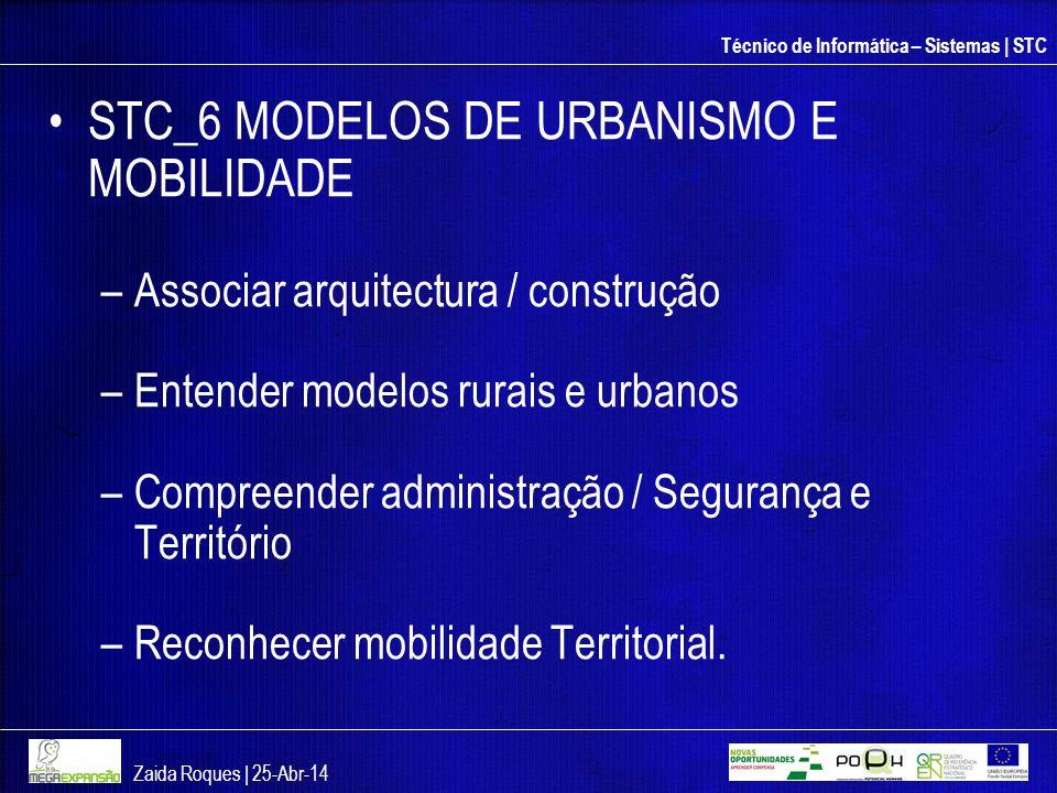 Técnico de Informática – Sistemas | STC STC_6 MODELOS DE URBANISMO E MOBILIDADE –Associar arquitectura / construção –Entender modelos rurais e urbanos