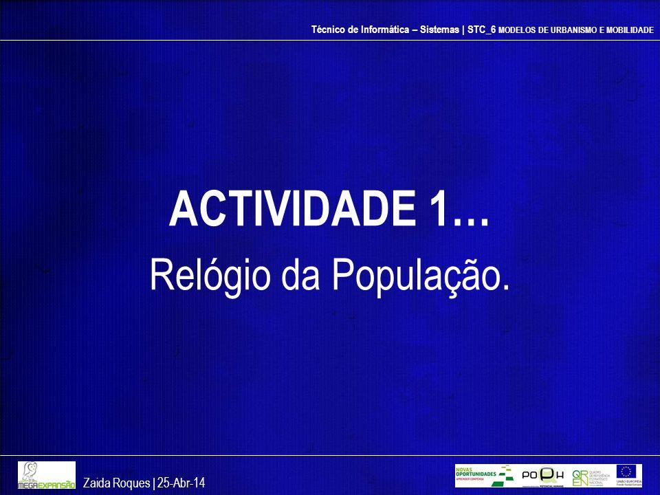 Técnico de Informática – Sistemas | STC_6 MODELOS DE URBANISMO E MOBILIDADE ACTIVIDADE 1… Relógio da População. Zaida Roques | 25-Abr-14