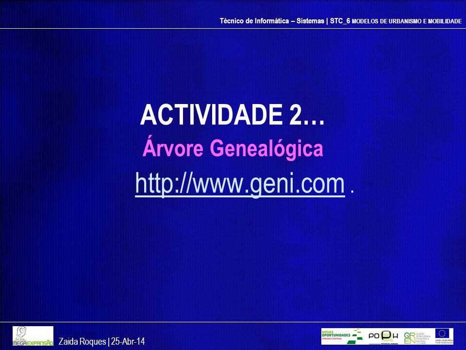 Técnico de Informática – Sistemas | STC_6 MODELOS DE URBANISMO E MOBILIDADE ACTIVIDADE 2… Árvore Genealógica http://www.geni.com http://www.geni.com.