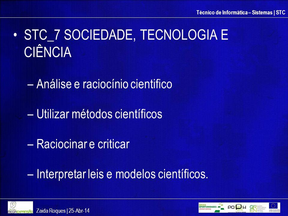 Técnico de Informática – Sistemas | STC STC_7 SOCIEDADE, TECNOLOGIA E CIÊNCIA –Análise e raciocínio cientifico –Utilizar métodos científicos –Raciocin