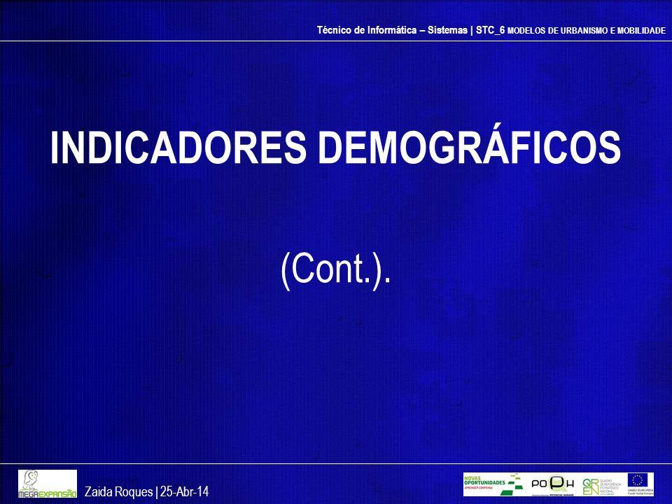Técnico de Informática – Sistemas | STC_6 MODELOS DE URBANISMO E MOBILIDADE INDICADORES DEMOGRÁFICOS (Cont.). Zaida Roques | 25-Abr-14
