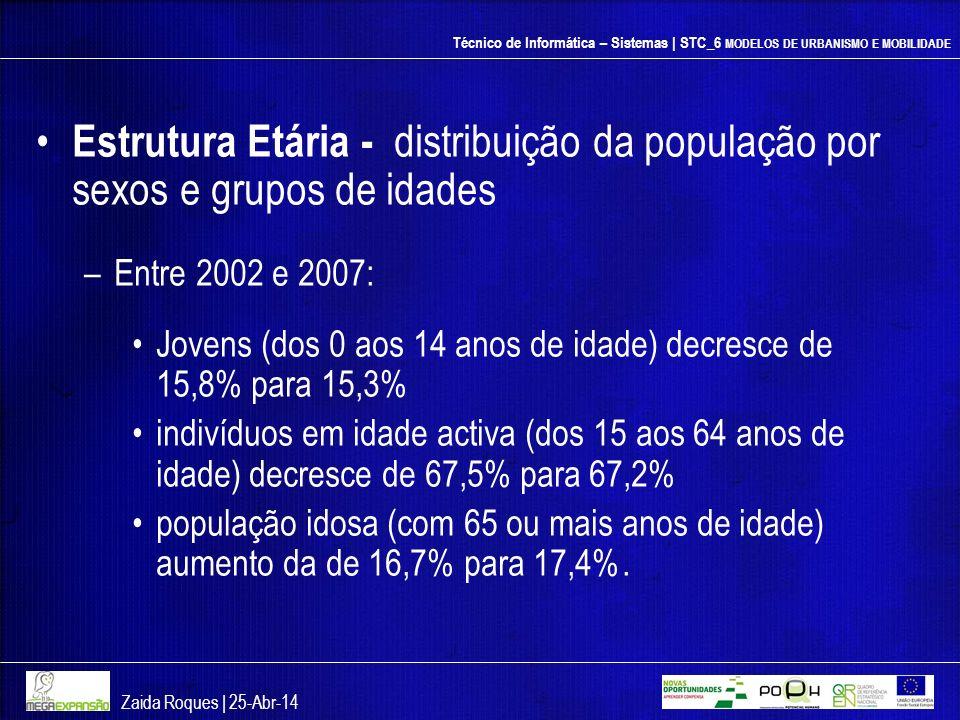 Técnico de Informática – Sistemas | STC_6 MODELOS DE URBANISMO E MOBILIDADE Estrutura Etária - distribuição da população por sexos e grupos de idades