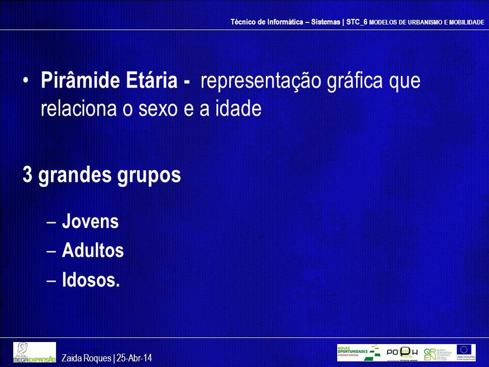 Técnico de Informática – Sistemas | STC_6 MODELOS DE URBANISMO E MOBILIDADE Pirâmide Etária - representação gráfica que relaciona o sexo e a idade 3 g