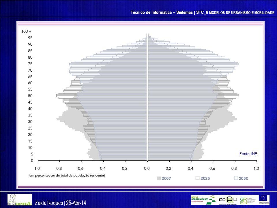 Técnico de Informática – Sistemas | STC_6 MODELOS DE URBANISMO E MOBILIDADE Zaida Roques | 25-Abr-14 Fonte: INE