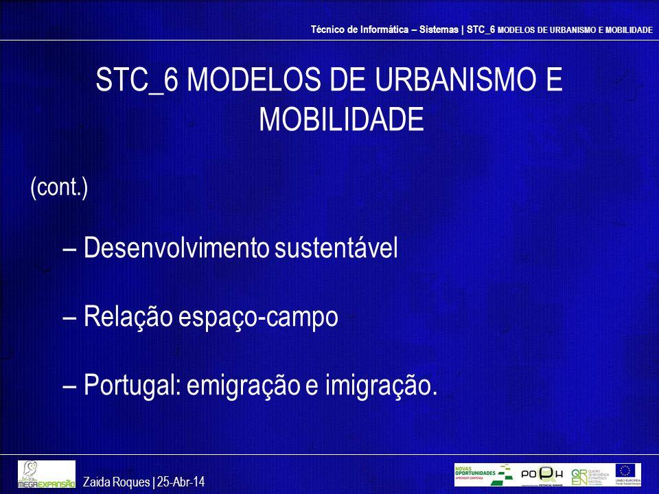 Técnico de Informática – Sistemas | STC_6 MODELOS DE URBANISMO E MOBILIDADE STC_6 MODELOS DE URBANISMO E MOBILIDADE (cont.) –Desenvolvimento sustentáv