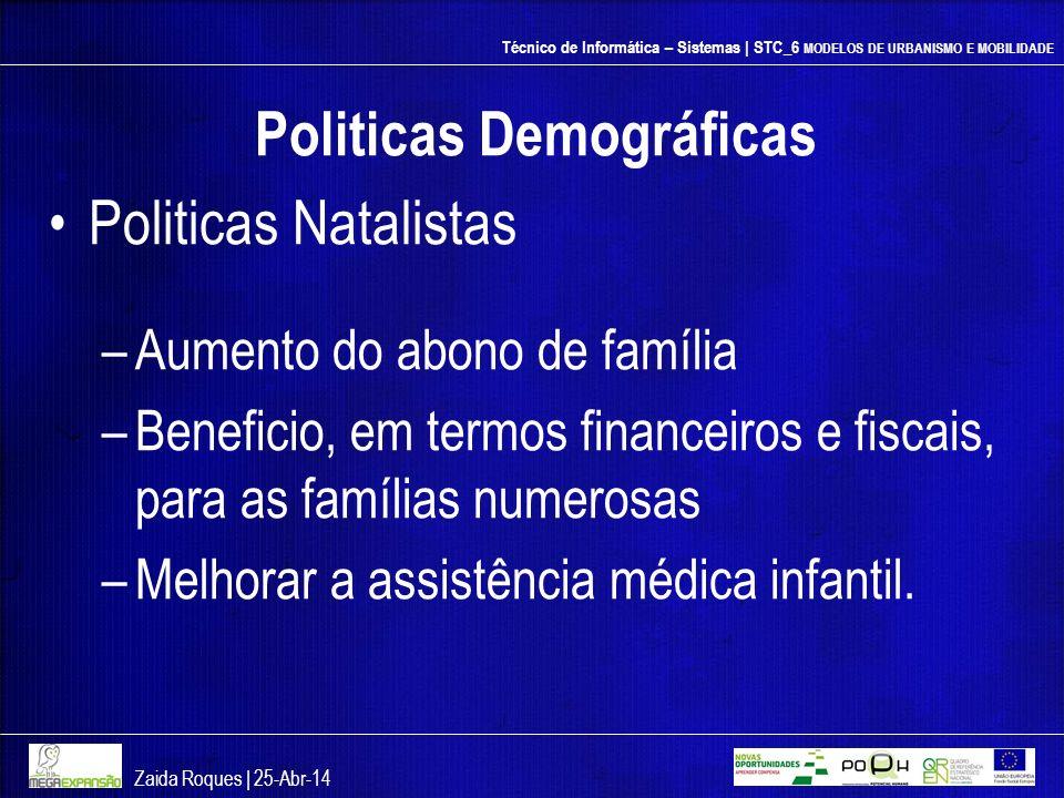 Técnico de Informática – Sistemas | STC_6 MODELOS DE URBANISMO E MOBILIDADE Politicas Demográficas Politicas Natalistas –Aumento do abono de família –
