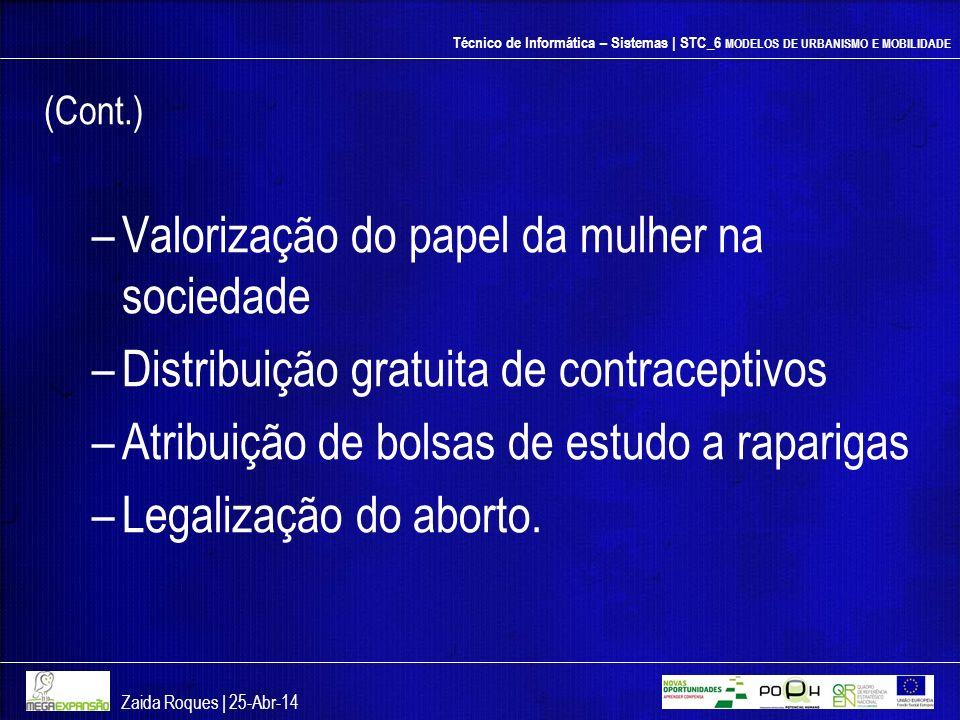 Técnico de Informática – Sistemas | STC_6 MODELOS DE URBANISMO E MOBILIDADE (Cont.) –Valorização do papel da mulher na sociedade –Distribuição gratuit