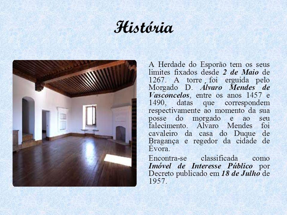 História A Herdade do Esporão tem os seus limites fixados desde 2 de Maio de 1267. A torre foi erguida pelo Morgado D. Álvaro Mendes de Vasconcelos, e