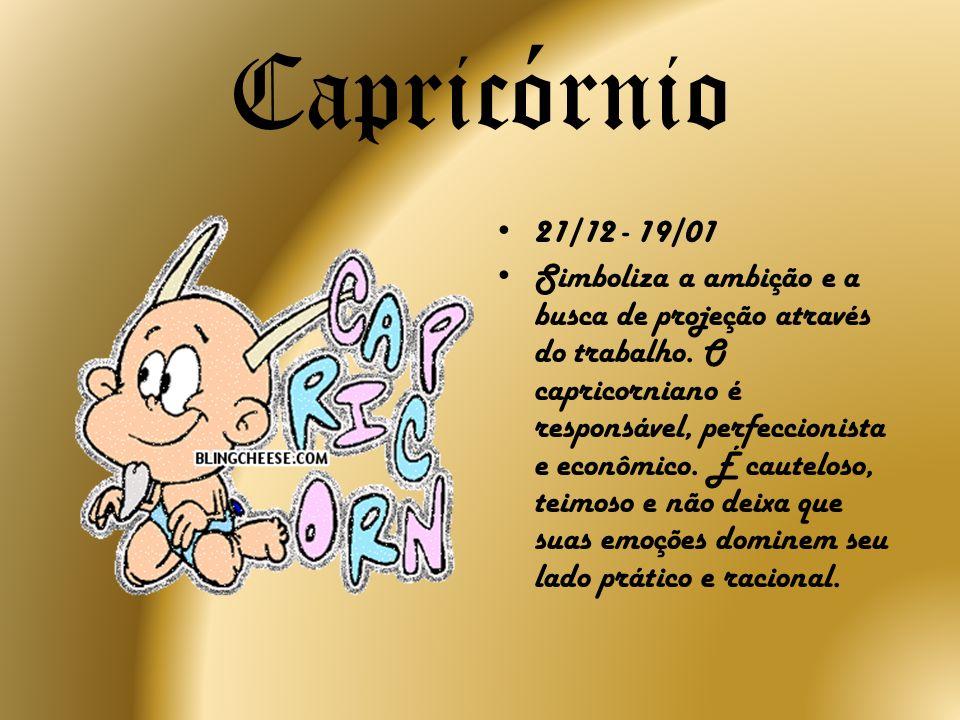 Capricórnio 21/12 - 19/01 Simboliza a ambição e a busca de projeção através do trabalho. O capricorniano é responsável, perfeccionista e econômico. É