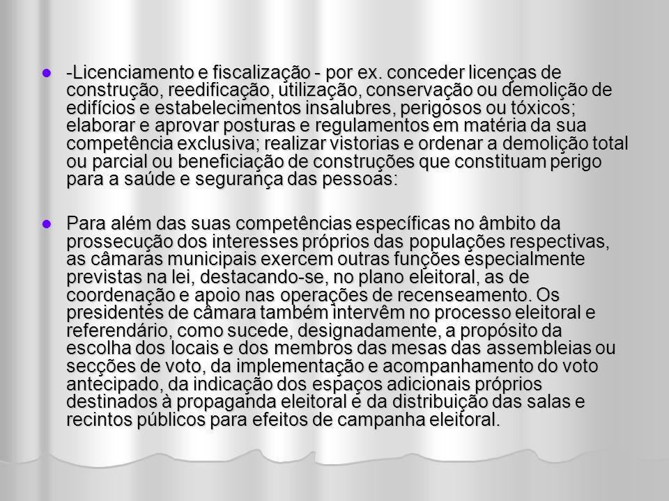 -Licenciamento e fiscalização - por ex.