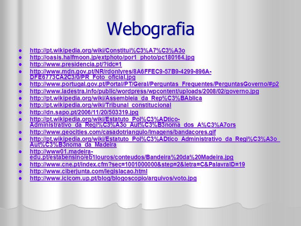 Webografia http://pt.wikipedia.org/wiki/Constitui%C3%A7%C3%A3o http://pt.wikipedia.org/wiki/Constitui%C3%A7%C3%A3o http://pt.wikipedia.org/wiki/Constitui%C3%A7%C3%A3o http://oasis.halfmoon.jp/extphoto/por1_photo/pc180164.jpg http://oasis.halfmoon.jp/extphoto/por1_photo/pc180164.jpg http://oasis.halfmoon.jp/extphoto/por1_photo/pc180164.jpg http://www.presidencia.pt/?idc=1 http://www.presidencia.pt/?idc=1 http://www.presidencia.pt/?idc=1 http://www.mdn.gov.pt/NR/rdonlyres/8A6FFEC9-57B9-4299-896A- DFE6773CA2C3/0/PR_Foto_oficial.jpg http://www.mdn.gov.pt/NR/rdonlyres/8A6FFEC9-57B9-4299-896A- DFE6773CA2C3/0/PR_Foto_oficial.jpg http://www.mdn.gov.pt/NR/rdonlyres/8A6FFEC9-57B9-4299-896A- DFE6773CA2C3/0/PR_Foto_oficial.jpg http://www.mdn.gov.pt/NR/rdonlyres/8A6FFEC9-57B9-4299-896A- DFE6773CA2C3/0/PR_Foto_oficial.jpg http://www.portugal.gov.pt/Portal/PT/Geral/Perguntas_Frequentes/PerguntasGoverno/#p2 http://www.portugal.gov.pt/Portal/PT/Geral/Perguntas_Frequentes/PerguntasGoverno/#p2 http://www.portugal.gov.pt/Portal/PT/Geral/Perguntas_Frequentes/PerguntasGoverno/#p2 http://www.ladestra.info/public/wordpress/wpcontent/uploads/2008/02/governo.jpg http://www.ladestra.info/public/wordpress/wpcontent/uploads/2008/02/governo.jpg http://www.ladestra.info/public/wordpress/wpcontent/uploads/2008/02/governo.jpg http://pt.wikipedia.org/wiki/Assembleia_da_Rep%C3%BAblica http://pt.wikipedia.org/wiki/Assembleia_da_Rep%C3%BAblica http://pt.wikipedia.org/wiki/Assembleia_da_Rep%C3%BAblica http://pt.wikipedia.org/wiki/Tribunal_constitucional http://pt.wikipedia.org/wiki/Tribunal_constitucional http://pt.wikipedia.org/wiki/Tribunal_constitucional http://dn.sapo.pt/2006/11/20/503319.jpg http://dn.sapo.pt/2006/11/20/503319.jpg http://dn.sapo.pt/2006/11/20/503319.jpg http://pt.wikipedia.org/wiki/Estatuto_Pol%C3%ADtico- Administrativo_da_Regi%C3%A3o_Aut%C3%B3noma_dos_A%C3%A7ors http://pt.wikipedia.org/wiki/Estatuto_Pol%C3%ADtico- Administrativo_da_Regi%C3%A3o_Aut%C3%B3noma_dos_A%C3%A7ors http://p