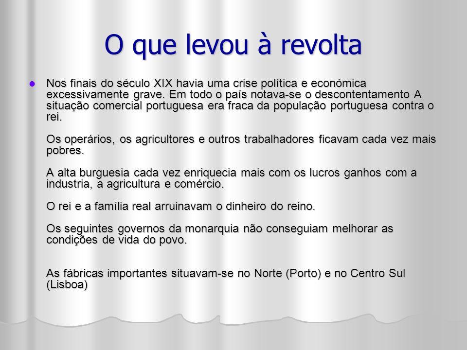 Alguns bancos portugueses foram à falência e muitas empresas atravessaram graves crises económicas que agravou o descontentamento dos burgueses.