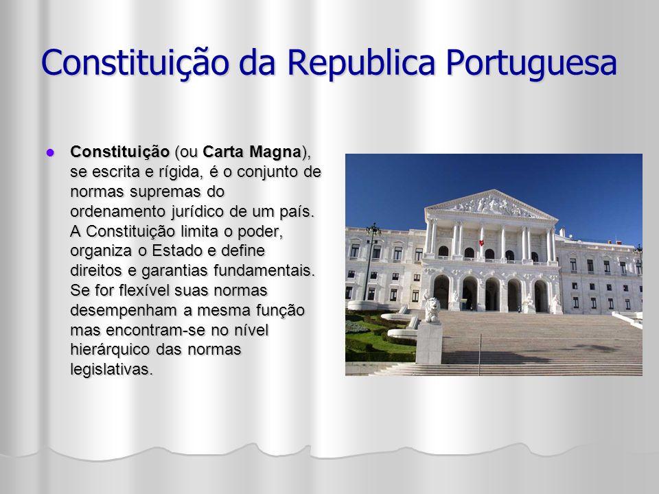 Constituição da Republica Portuguesa Constituição (ou Carta Magna), se escrita e rígida, é o conjunto de normas supremas do ordenamento jurídico de um país.