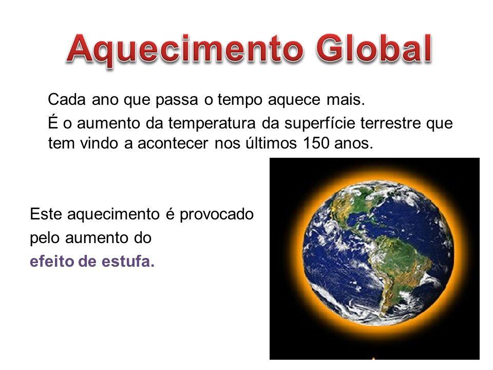 Cada ano que passa o tempo aquece mais. É o aumento da temperatura da superfície terrestre que tem vindo a acontecer nos últimos 150 anos. Este aqueci