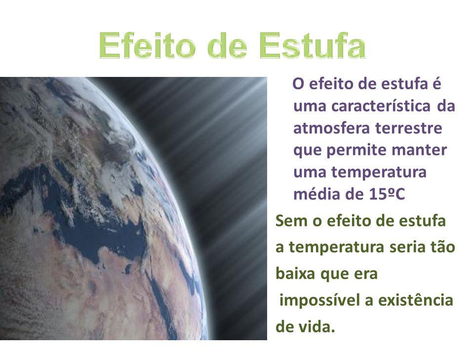 O efeito de estufa é uma característica da atmosfera terrestre que permite manter uma temperatura média de 15ºC Sem o efeito de estufa a temperatura s