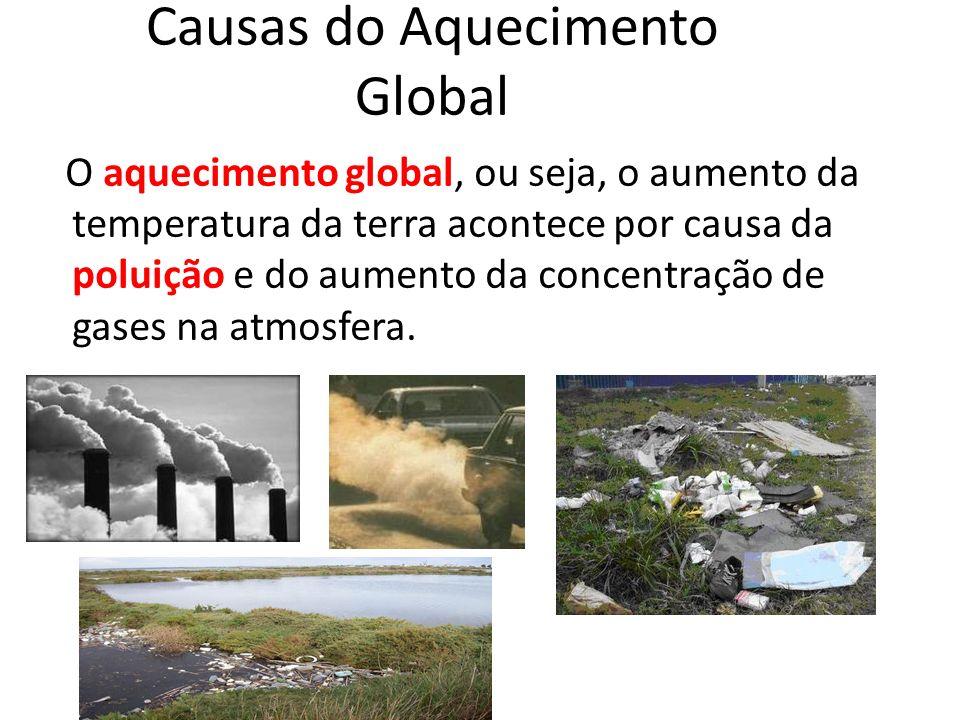 Causas do Aquecimento Global O aquecimento global, ou seja, o aumento da temperatura da terra acontece por causa da poluição e do aumento da concentra
