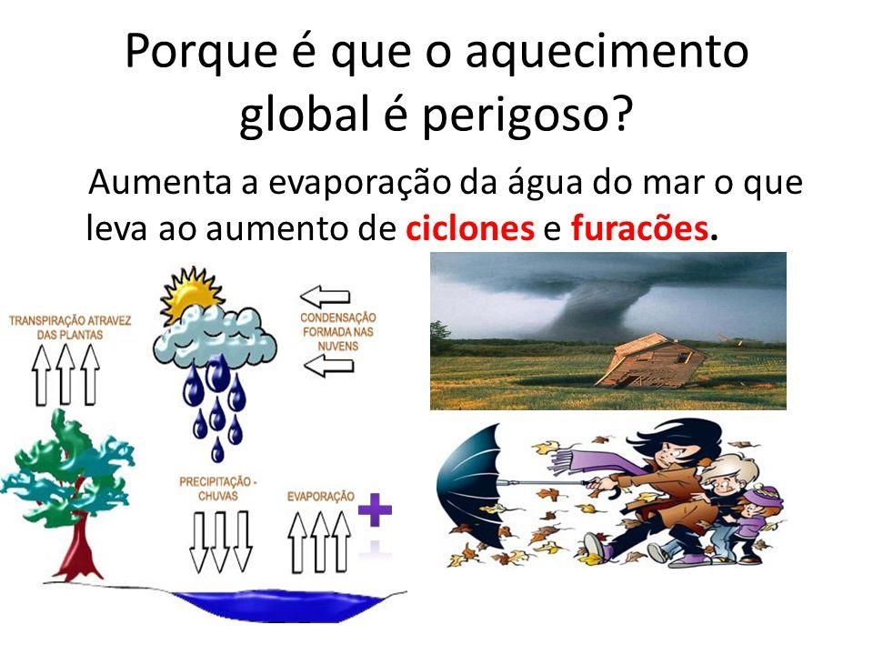 Porque é que o aquecimento global é perigoso? Aumenta a evaporação da água do mar o que leva ao aumento de ciclones e furacões.