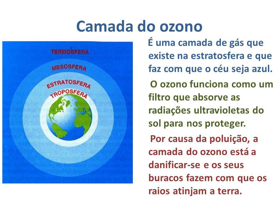 Camada do ozono É uma camada de gás que existe na estratosfera e que faz com que o céu seja azul. O ozono funciona como um filtro que absorve as radia