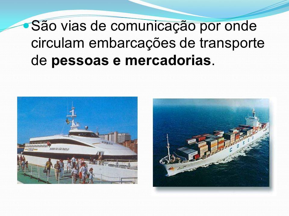 São vias de comunicação por onde circulam embarcações de transporte de pessoas e mercadorias.