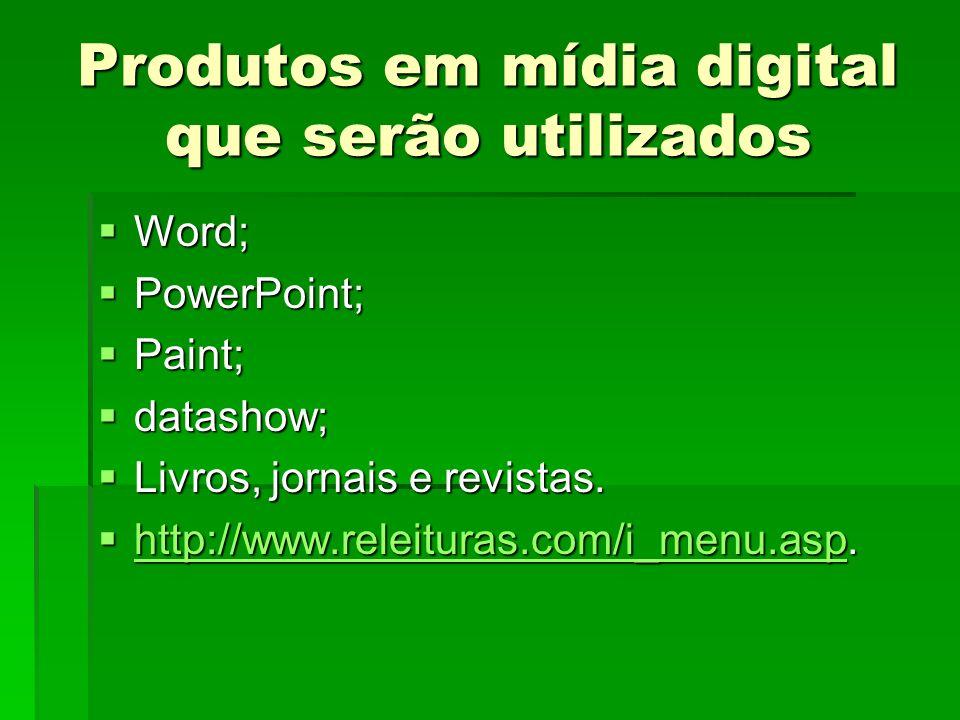 Produtos em mídia digital que serão utilizados Word; Word; PowerPoint; PowerPoint; Paint; Paint; datashow; datashow; Livros, jornais e revistas. Livro