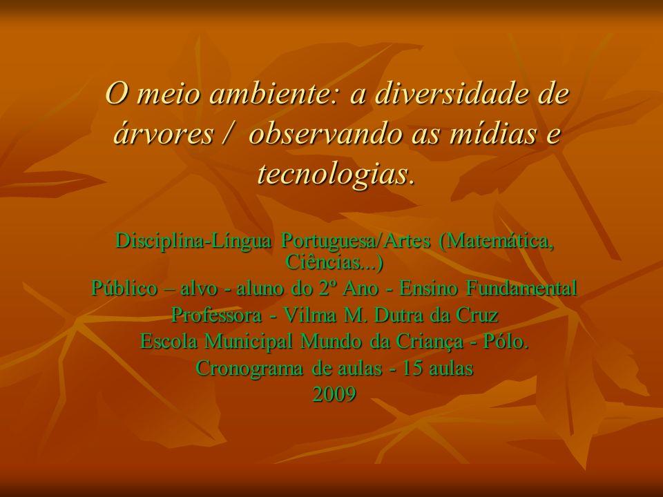 O meio ambiente: a diversidade de árvores / observando as mídias e tecnologias. Disciplina-Língua Portuguesa/Artes (Matemática, Ciências...) Público –