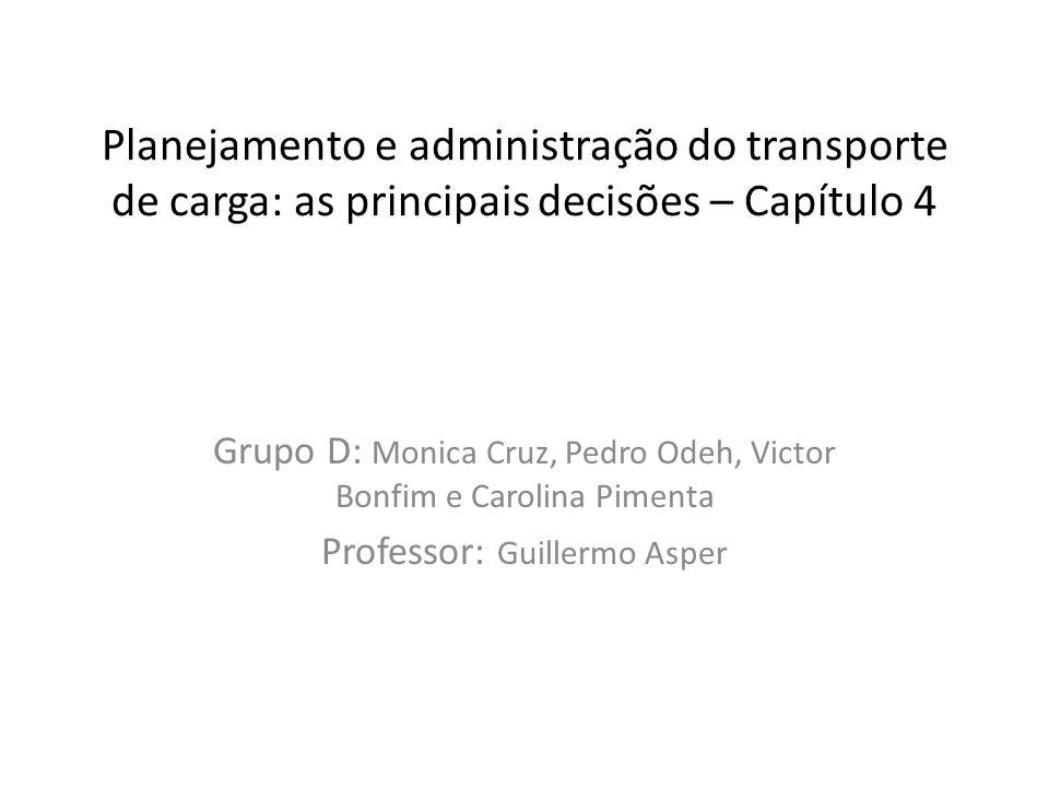 Planejamento e administração do transporte de carga: as principais decisões – Capítulo 4 Grupo D: Monica Cruz, Pedro Odeh, Victor Bonfim e Carolina Pi
