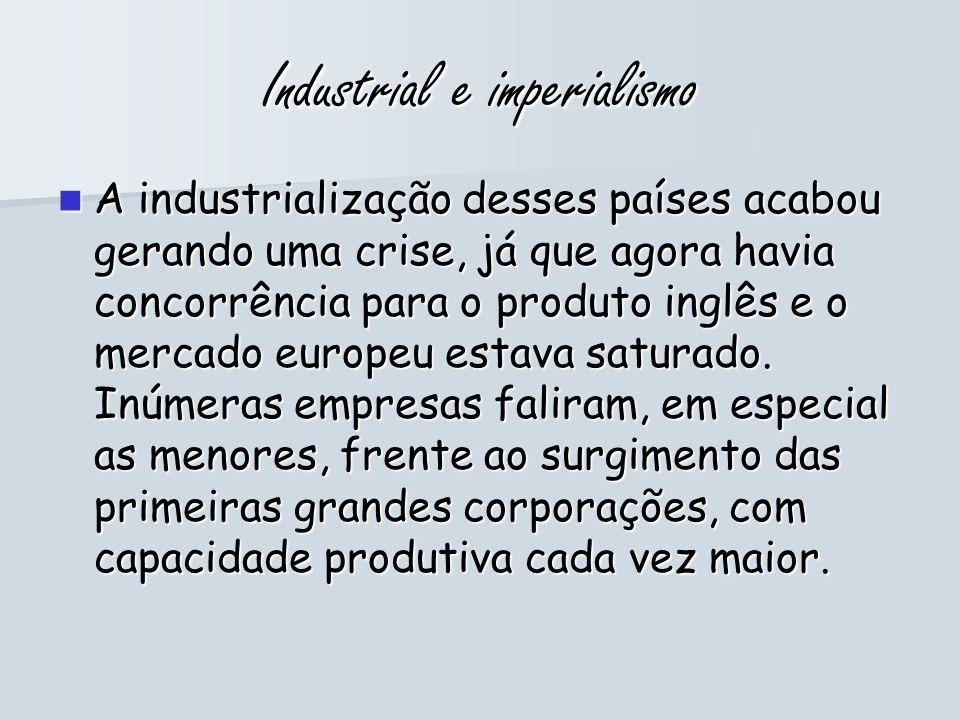 Industrial e imperialismo A industrialização desses países acabou gerando uma crise, já que agora havia concorrência para o produto inglês e o mercado