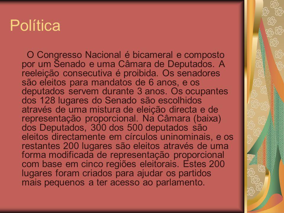 Política O Congresso Nacional é bicameral e composto por um Senado e uma Câmara de Deputados. A reeleição consecutiva é proibida. Os senadores são ele