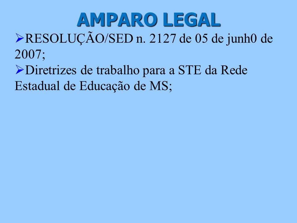 AMPARO LEGAL RESOLUÇÃO/SED n. 2127 de 05 de junh0 de 2007; Diretrizes de trabalho para a STE da Rede Estadual de Educação de MS;