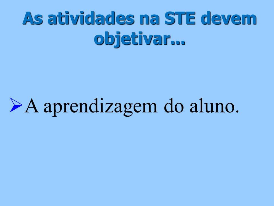 As atividades na STE devem objetivar... A aprendizagem do aluno.