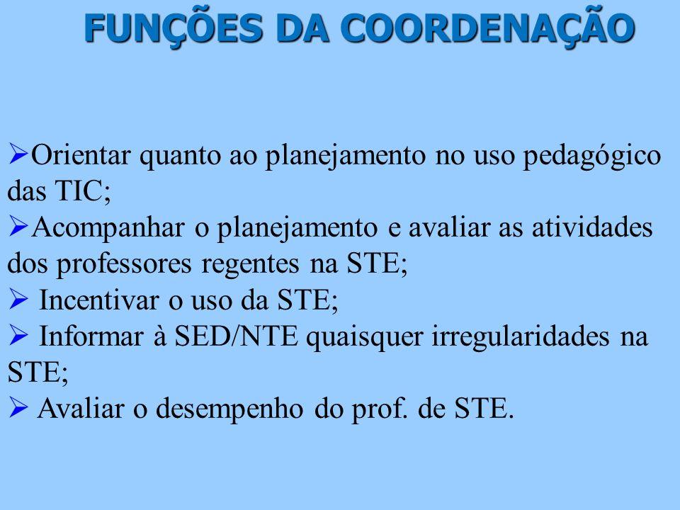 FUNÇÕES DA COORDENAÇÃO FUNÇÕES DA COORDENAÇÃO Orientar quanto ao planejamento no uso pedagógico das TIC; Acompanhar o planejamento e avaliar as ativid