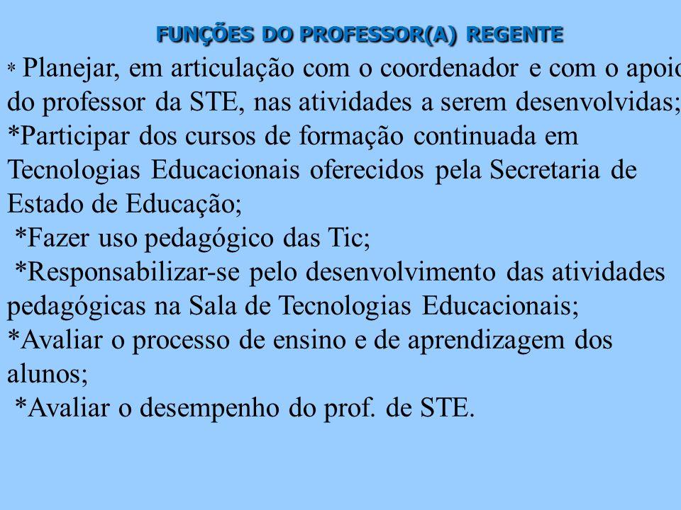 FUNÇÕES DO PROFESSOR(A) REGENTE FUNÇÕES DO PROFESSOR(A) REGENTE * Planejar, em articulação com o coordenador e com o apoio do professor da STE, nas at