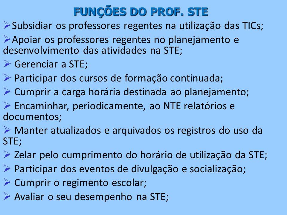 FUNÇÕES DO PROF. STE Subsidiar os professores regentes na utilização das TICs; Apoiar os professores regentes no planejamento e desenvolvimento das at