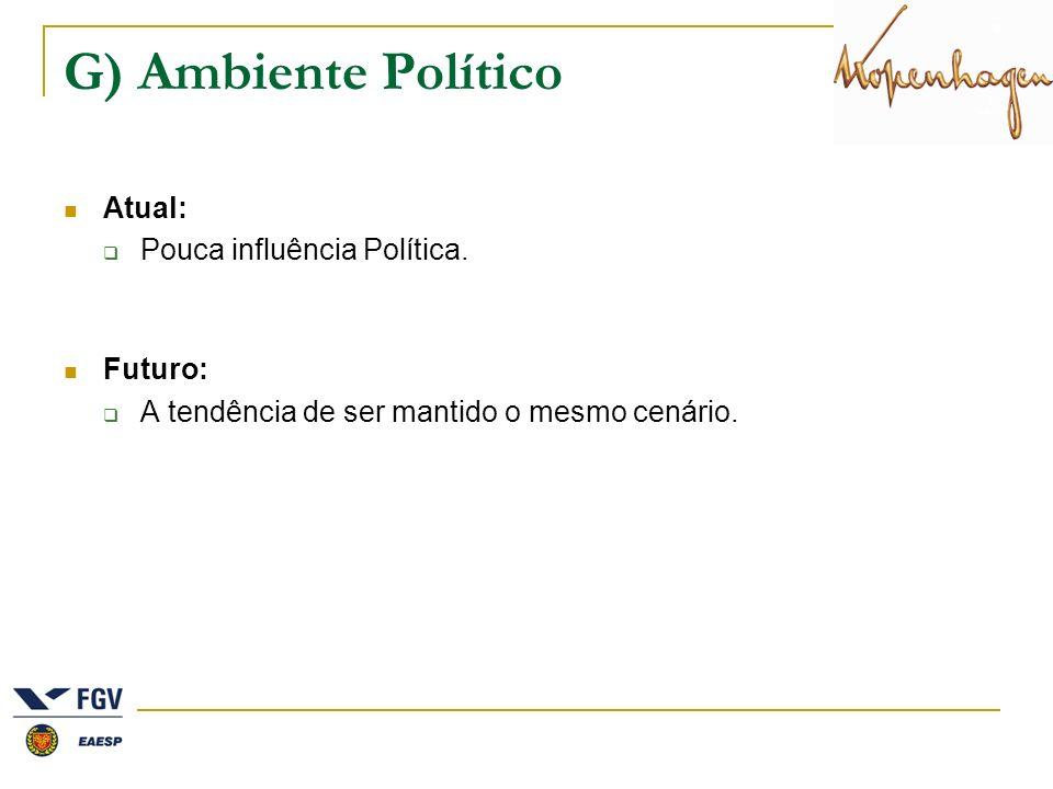 G) Ambiente Político Atual: Pouca influência Política. Futuro: A tendência de ser mantido o mesmo cenário.
