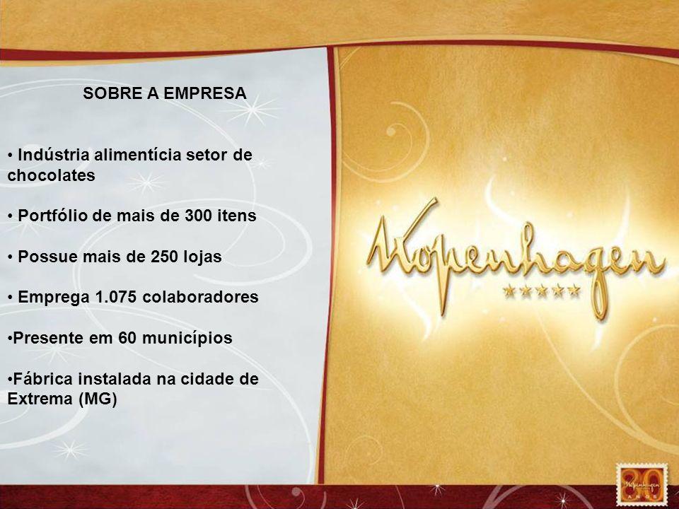 SOBRE A EMPRESA Indústria alimentícia setor de chocolates Portfólio de mais de 300 itens Possue mais de 250 lojas Emprega 1.075 colaboradores Presente