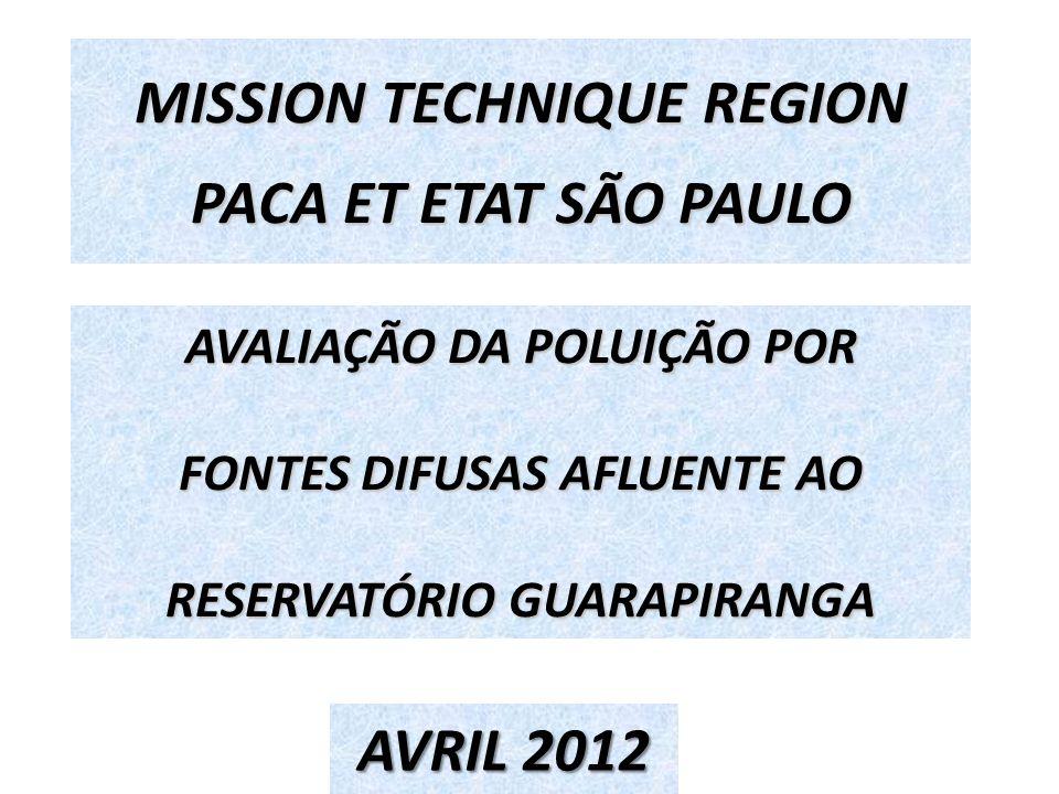 AVALIAÇÃO DA POLUIÇÃO POR FONTES DIFUSAS AFLUENTE AO RESERVATÓRIO GUARAPIRANGA MISSION TECHNIQUE REGION PACA ET ETAT SÃO PAULO AVRIL 2012