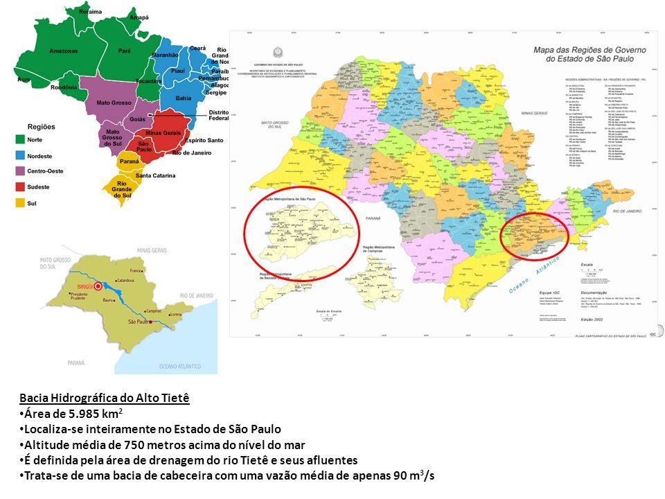Bacia Hidrográfica do Alto Tietê Área de 5.985 km 2 Localiza-se inteiramente no Estado de São Paulo Altitude média de 750 metros acima do nível do mar